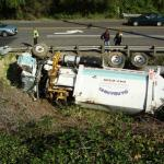 Rolled Garbage Truck on Highway 26 Beaverton Oregon
