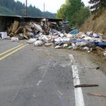 Rolled Garbage Truck Highway 47 Oregon