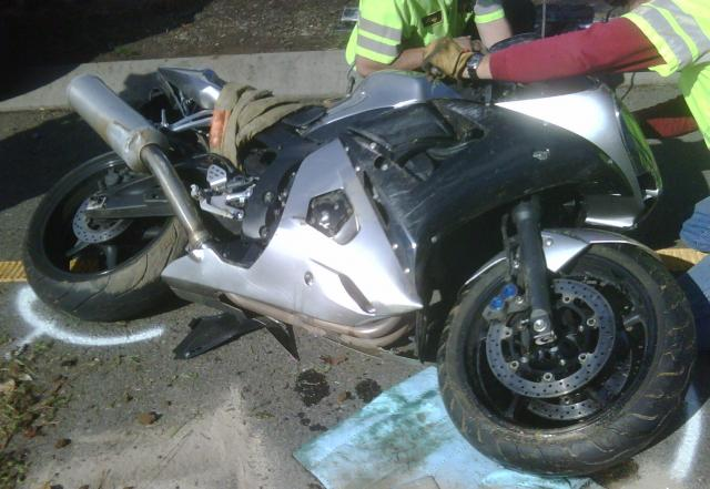 Wrecked Motorcycle attempting to elude