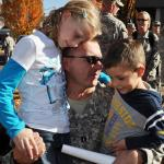 Oregon Army National Guard Capt. Bobby Baca Greets his Children