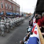 A group of Soldiers from the 41 Infantry Brigade Combat Team passes the reviewing stand Albany Veterans Day Parade in Albany