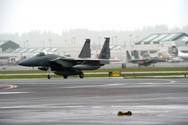 142ND Fighter Wing F-15 Eagles Return From Exercise Iron Falcon