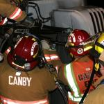 Canby Fire Extricates driver from rolled truck