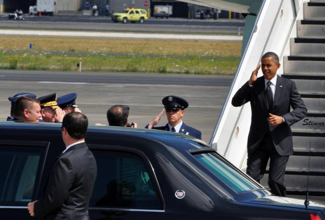 U.S. President Barack Obama arrives at the Portland Air National Guard Base, July 24, during a visit to Portland, Ore