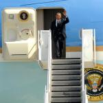 U.S. President Barack Obama exits Air Force One after arriving at the Portland Air National Guard Base, July 24