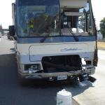 Front end of motor home after rear ending semi trailer