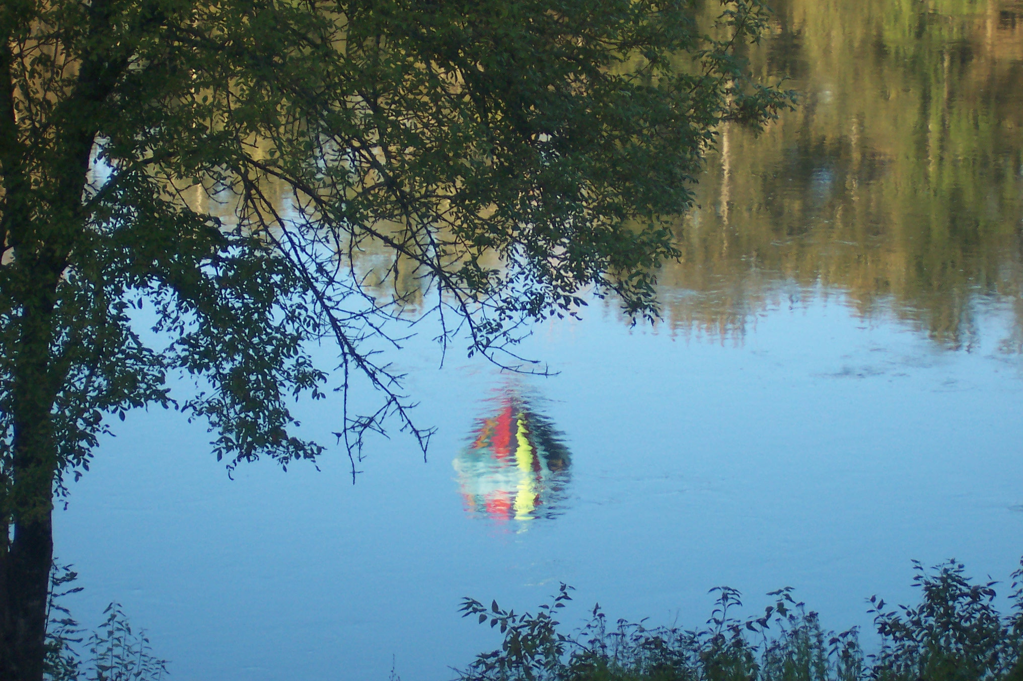 Hot Air Balloon Reflection on the Willamette River