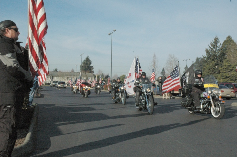 The Patriot Guard leads the funeral procession for Ryan Hill, February 2nd, 2007.  Photo: iraqwarheroes.org